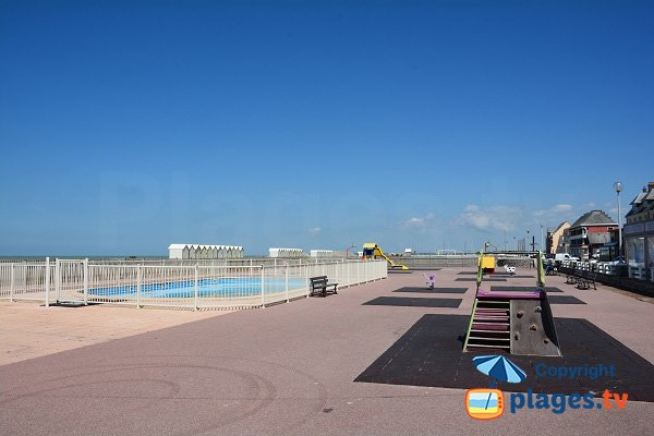 Playground and swimming pool on the seafront of Cayeux