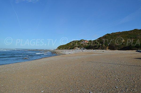 Extrémité de la plage de Cenitz sur la commune de Guétary