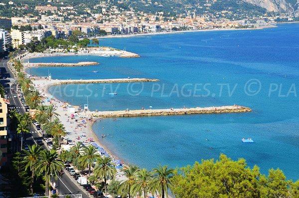 Beaches in Roquebrune Cap Martin and Menton view