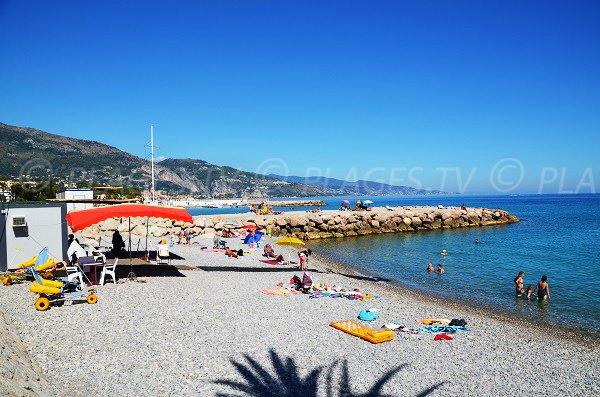 Beach for disabled in Roquebrune Cap Martin