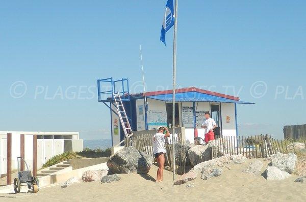 spiaggia sorvegliata in estate a Torreilles - Francia