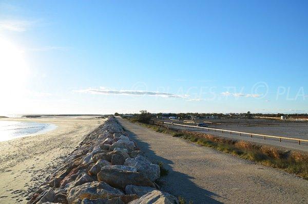 Digues sur la plage du Clos du Rhône aux Saintes Maries de la Mer