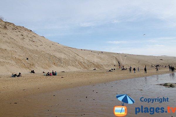 Photo de la plage au pied de la dune de Pilat