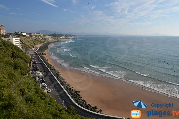 Cote des Basques beach and view on Spanish coast - Biarritz