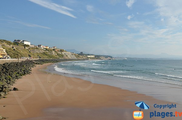 Cote des Basques beach in Biarritz in France