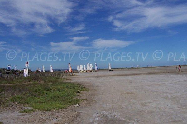 Char à voile sur la plage du Franqui les Coussoules - Aude