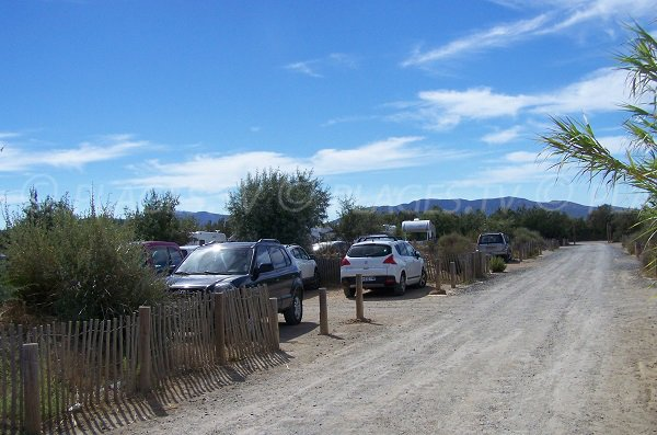 Parking of Coussoules beach in Leucate