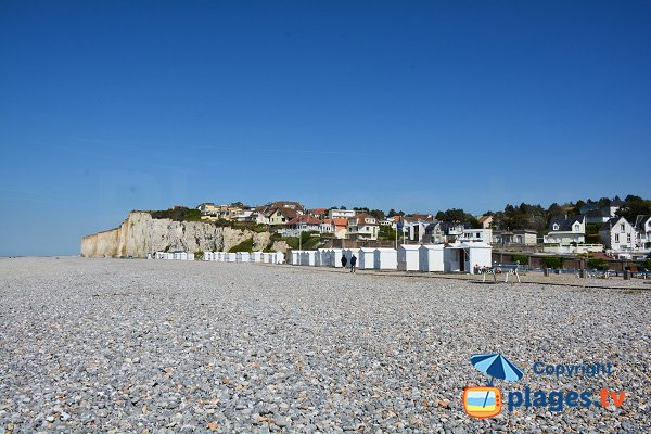 Huts on the Criel sur Mer beach in Normandy