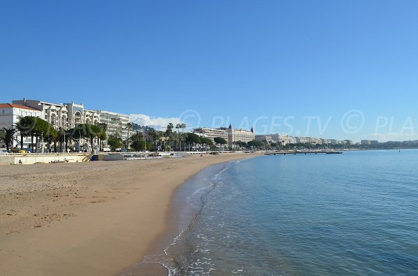 Cannes Croisette beach with the different palaces
