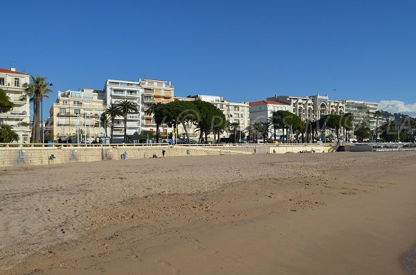 Beach with large public space in winter in Cannes