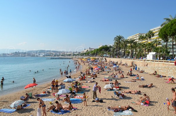 Public beach on the Croisette of Cannes - France