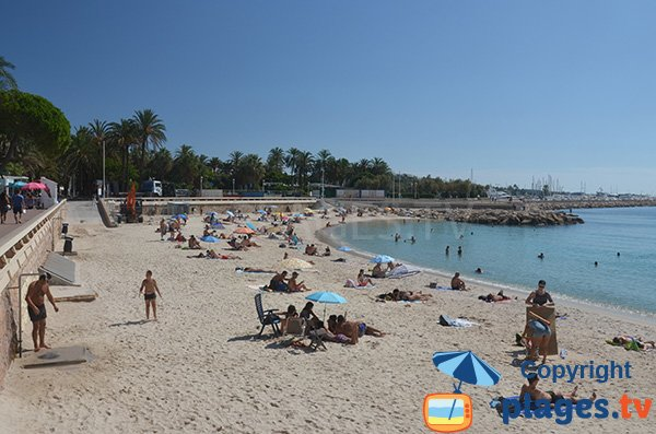 Public beach in Cannes on the Croisette in September