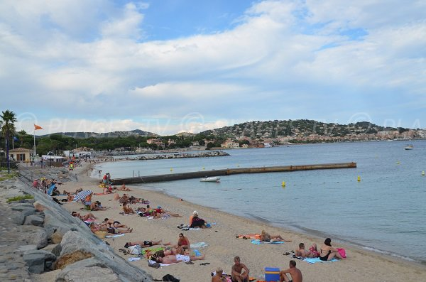 Croisette beach in Ste Maxime in summer - France