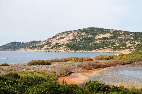 Photo de la plage de l'Argentella avec l'étang de Crovani - Haute-Corse