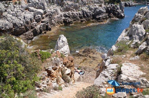 Stairs of Cuisse beach in St Jean Cap Ferrat