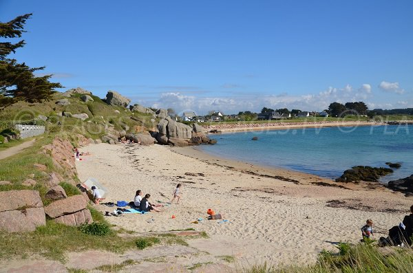 Cures beach in Trégastel in Brittany - France