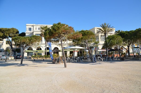 Esplanade with many cafes in La Ciotat in the beach area