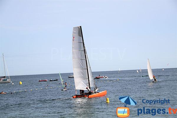 Catamaran glissant sur l'eau