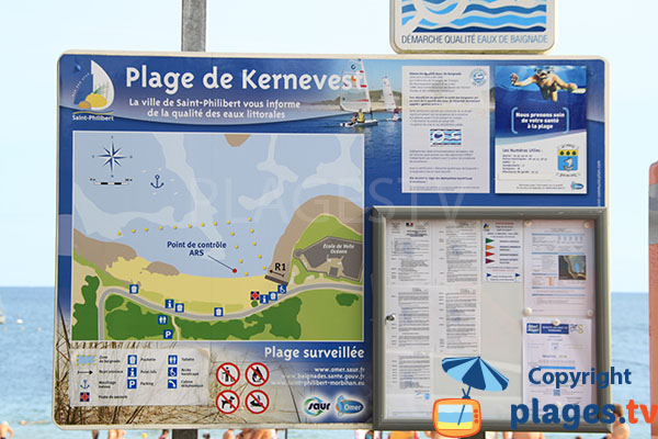 Panneau signalisant les spécificités de la plage
