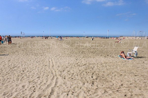 Public sand beach in Deauville in France