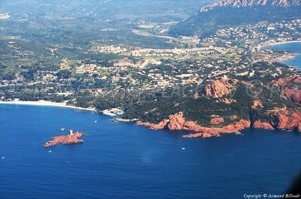 Aerial view of Landing beach of Saint-Raphael and Esterel