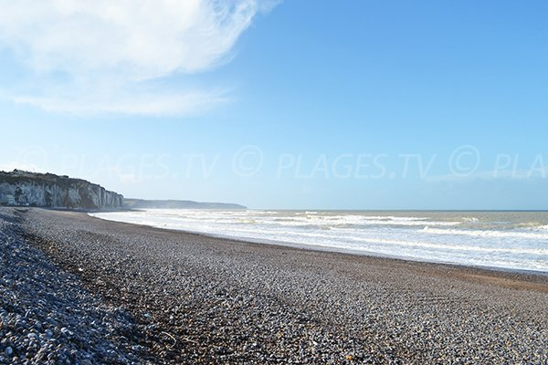 Cliffs and beach of Dieppe in France