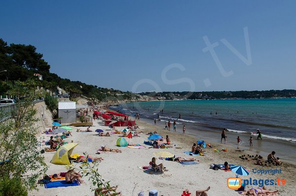 Doree beach in Sanary sur Mer in France