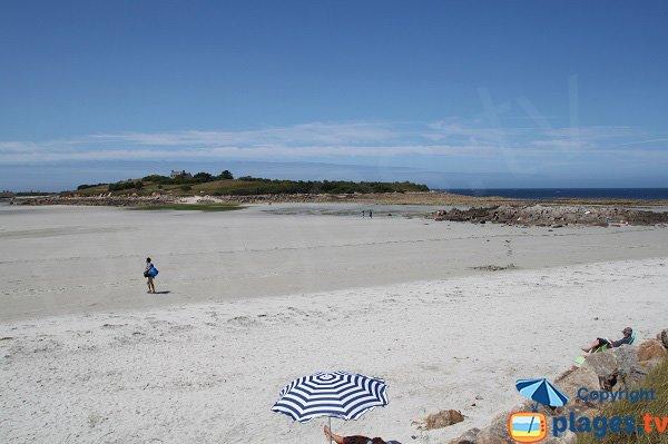 Ile de Siec depuis la plage du Dossen - Santec