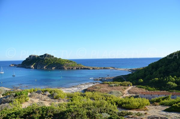 Photo of the Douane Beach with the Cape Taillat - Ramatuelle