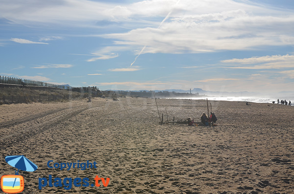 Large beach in Anglet with view on Biarritz