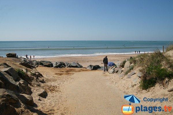 Accès à la plage des Dunes à Brétignolles sur Mer - zone surfeurs