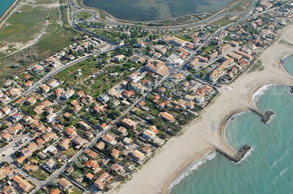 Aerial view of Frontignan beach