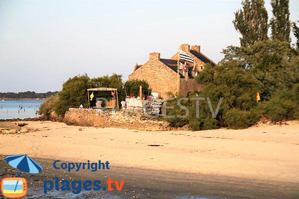 Vue sur la plage de Valy depuis la plage d'Er Hroueg à Locmariaquer