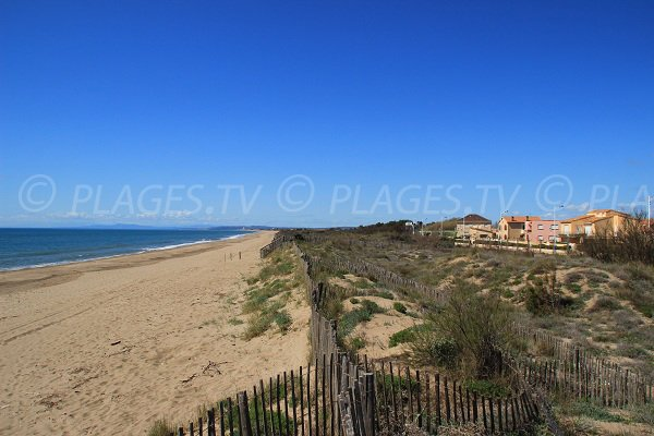 East beach in Portiragnes - view from the top of the dune