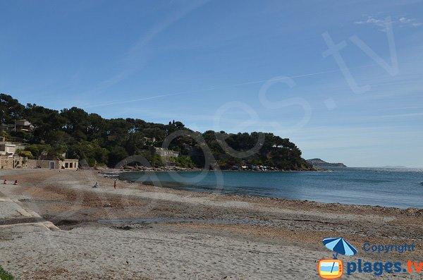 Sand beach of Fabrégas in La Seyne in Var department