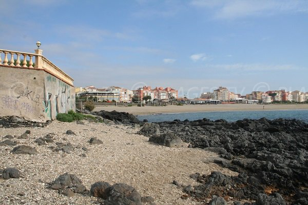 View on the Mole and Roquille beaches in Cape d'Agde