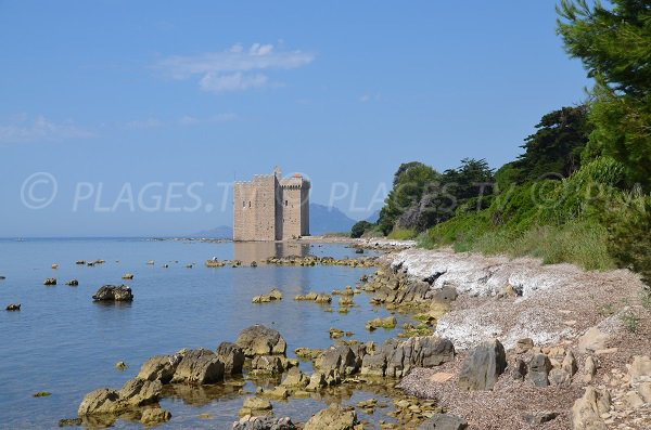 Photo d'une plage de Lérins avec le fort de St Honorat