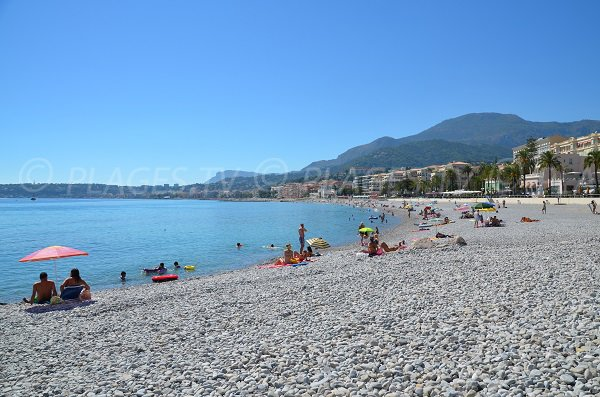 Fossan beach in Menton with Cap Martin view