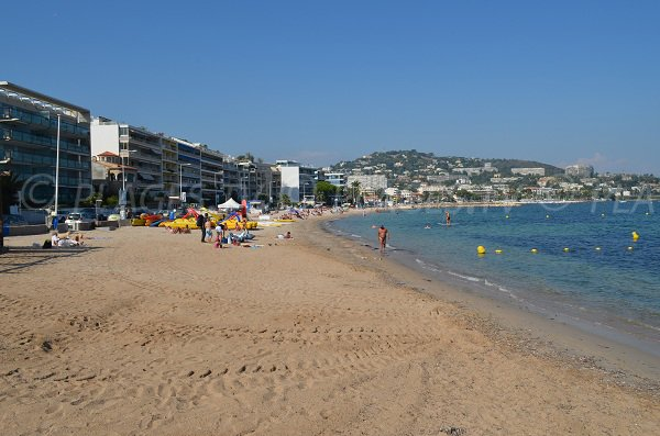 Sand beach in Cannes, area of Pointe of the Croisette