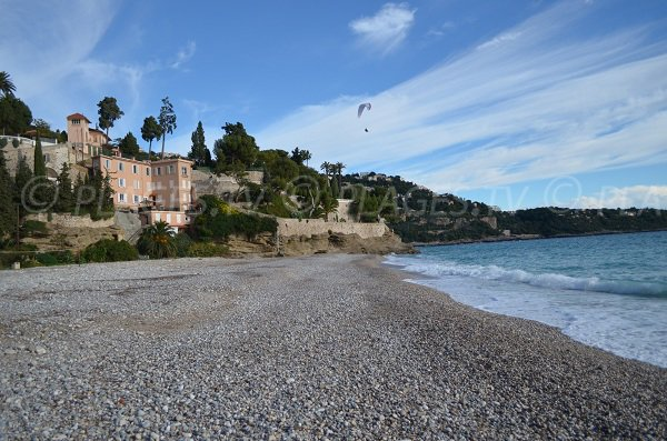 Golfe Bleu beach in Roquebrune with a paraglider