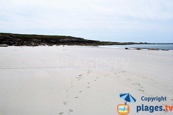 plage du Gouérou à Lampaul Plouarzel à marée basse