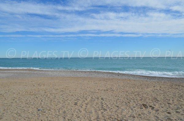 Public sand beach in Cagnes sur Mer