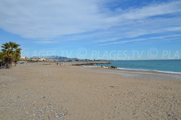 Grand Large beach in Cagnes sur Mer in France