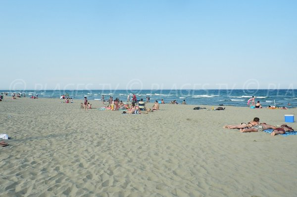 Grand Large beach in Canet-Plage in summer