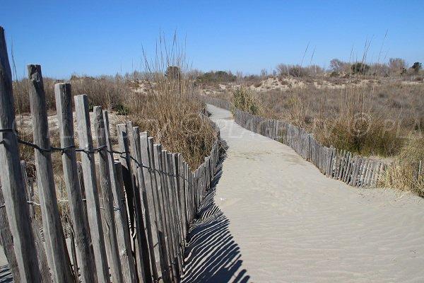Chemin d'accès à la plage du Grand Travers à La Grande Motte