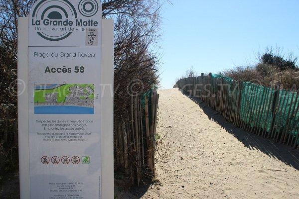 Panneau de l'accès 58 de la plage du Grand Travers