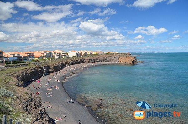 Photo de la plage de sable gris au Cap d'Agde - Grande Conque