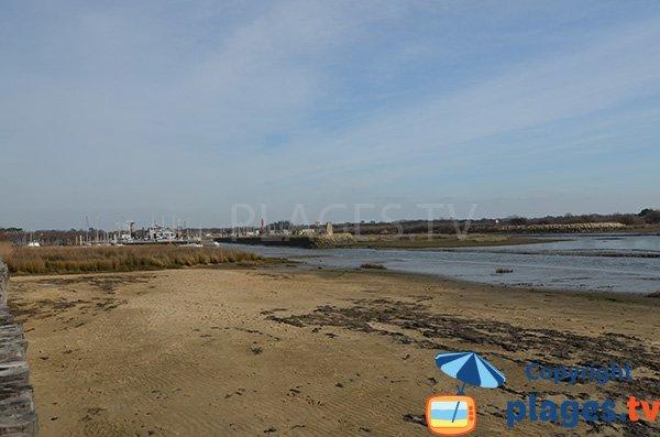 Plage d'Audenge avec vue sur le port