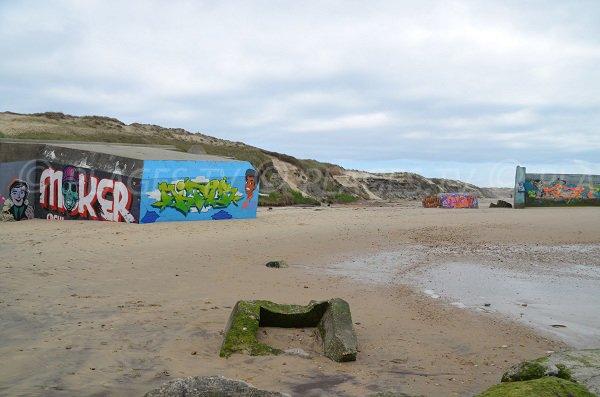 Blockhaus sur la plage de Gurp en Gironde