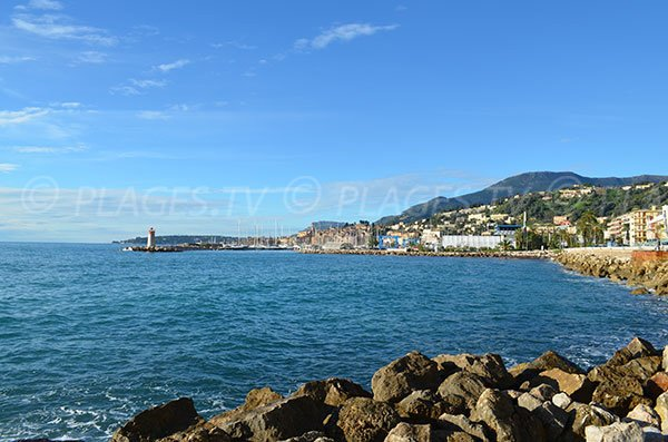 Beach of Menton with view of the old town